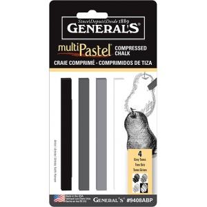 General's® MultiPastel® Compressed Sticks Grey Tones: Black/Gray, Stick, (model 9408ABP), price per set