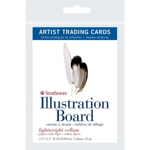 "Strathmore® 500 Series 2.5"" x 3.5"" Light Weight Vellum Illustration Board Artist Trading Cards: White/Ivory, Artist Trading Card, 5 Cards, 2 1/2"" x 3 1/2"", Vellum, Illustration Board, 42 pt, (model ST105-907), price per 5 Cards"
