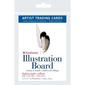 "Strathmore® 500 Series 2.5"" x 3.5"" Light Weight Vellum Illustration Board Artist Trading Cards: White/Ivory, Artist Trading Card, 5 Cards, 2 1/2"" x 3 1/2"", Vellum, Illustration Board, 42 pt, (model ST105-907), price per 5 Cards"