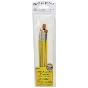 Royal & Langnickel® 9100 Series  Zip N' Close™ Yellow 4-Piece Brush Set 5; Length: Short Handle; Material: Taklon; Shape: Angular, Detail, Round, Shader; Type: Acrylic, Tempera, Watercolor; (model RSET-9123), price per set