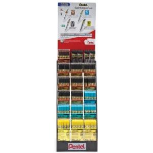 Pentel® Super Hi-Polymer® Lead Display; Lead Color: Black/Gray, Multi; Type: Lead; (model HP18D), price per each