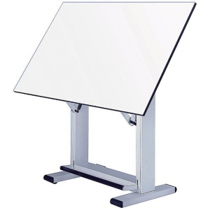 "Alvin® Elite Table White Base White Top 37.5"" x72""; Angle Adjustment Range: 0 - 85; Base Color: Black/Gray; Base Material: Steel; Height Range: 38"" - 45""; Top Color: White/Ivory; Top Material: Melamine; Top Size: 37 1/2"" x 72""; (model ET72-4), price per each"