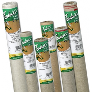 "Fredrix® PRO Series 54"" x 3yd Linen Acrylic Primed Canvas Roll 588 Galicia: White/Ivory, Roll, Linen, 54"" x 3 yd, Acrylic, Primed, (model T10881), price per roll"
