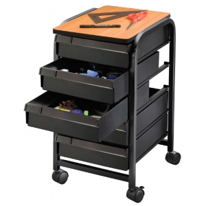 "Alvin® Mobile Organizer Black: Black/Gray, Plastic, 5-Drawer, 13 3/4""d x 17 1/4""w x 25 1/2""h, (model TAB33-BK), price per each"
