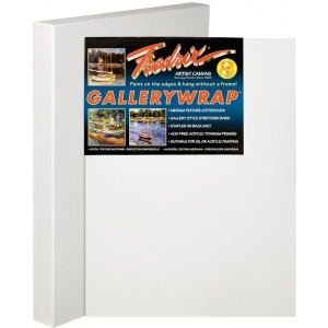 "Fredrix® Gallerywrap™ 12"" x 36"" Stretched Canvas: White/Ivory, Sheet, 12"" x 36"", 1 3/8"" x 1 3/8"", Stretched"