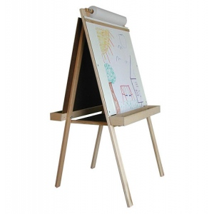 Beka Deluxe Easel: Chalkboard & Markerboard, Natural Wood Tray