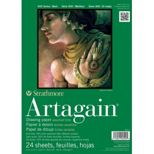 "Strathmore® Artagain® 400 Series 9"" x 12"" Assorted Tints Glue Bound Pad; Binding: Glue Bound; Color: Assorted; Format: Pad; Quantity: 24 Sheets; Size: 9"" x 12""; Weight: 60 lb; (model ST445-9), price per 24 Sheets pad"