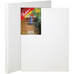 "Fredrix® Artist Series Red Label 24 x 36 Stretched Canvas; Color: White/Ivory; Format: Sheet; Size: 24"" x 36""; Stretcher Strips: 11/16"" x 1 9/16""; Type: Stretched; (model T5031A), price per each"