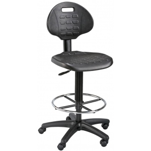 "Alvin® LabTek™ Black Utility Chair; Arm Rest Included: No; Color: Black/Gray; Foot Ring Included: Yes; Height Range: 24"" - 29"", 30"" & Up, Under 24""; Seat Material: Polyurethane; (model DC249), price per each"