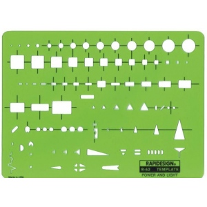 """Rapidesign® Power and Light Template; Size: 5 1/2"""" x 7 1/2"""" x .030""""; Type: Electric/Electronic; (model 62R), price per each"""