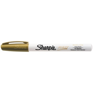 Sharpie® Oil Paint Marker Fine Gold; Color: Metallic; Ink Type: Paint; Tip Type: Fine Nib; (model SN35544), price per each