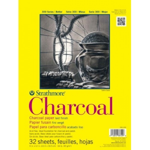 "Strathmore 300 Series Charcoal Pad: 11"" x 17"", Glue Bound with Flip Over Cover, 32-Sheet"