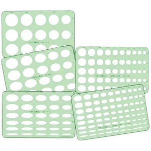 "Timely® Ellipse Templates; Quantity: 5-Pack; Scale: 7/16"" - 1 3/4""; (model 95TA), price per set"