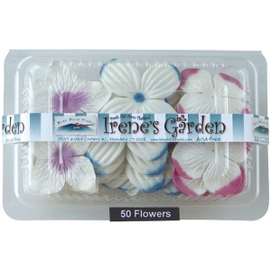 "Flower Pack Pink/Sky/Purple; Color: Multi; Material: Paper; Size: 2""+; Type: Dimensional; (model BHS10751), price per pack"