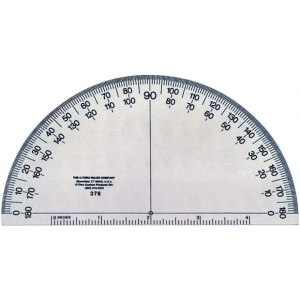 "Westcott® C-Thru® Transparent 6"" Semicircular Protractor; Color: Clear; Material: Plastic; Size: 6""; Type: Protractor; (model 376), price per each"