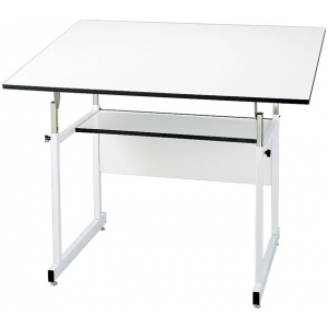 "Alvin® WorkMaster® Jr. Table White Base White Top 36"" x 48""; Angle Adjustment Range: 0 - 35; Base Color: White/Ivory; Base Material: Steel; Height Range: 29"" - 44""; Top Color: White/Ivory; Top Material: Melamine; Top Size: 36"" x 48""; (model WMJ48-4-XB), price per each"