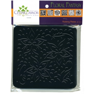 "Cedar Canyon Textiles Floral Fantasy Rubbing Plate Set: Black/Gray, 7"" x 7"", Rubbing Plate, (model CCT4005), price per set"