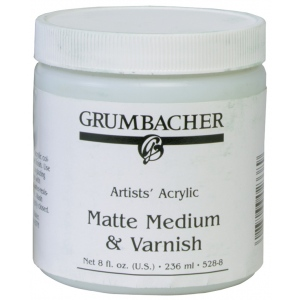 Grumbacher® Matte Medium and Varnish for Acrylics: Matte, Jar, 8 oz, Varnish, (model GB5288), price per each