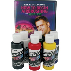 Createx™ Airbrush Primary 6-Color Set with DVD; Color: Multi; Format: Bottle; Size: 2 oz; Type: Airbrush; (model 5812-00), price per set