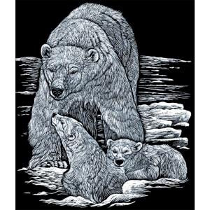 "Royal & Langnickel® Engraving Art Set Silver Foil Polar Bear & Cub: 8"" x 10"", Metallic, (model SILF14), price per set"