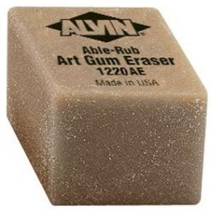 "Alvin® 1"" x 1"" x 3/4"" Art Gum Erasers 24/Box; Material: Gum; Quantity: 24-Box; Type: Manual; (model 1220AE), price per 24-Box box"