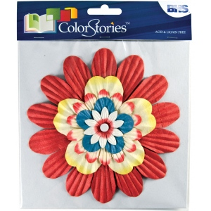 "Blue Hills Studio™ ColorStories™ Handmade Paper Stacked Flowers Red: Red/Pink, Paper, 6"", Dimensional, (model BHS10109), price per each"