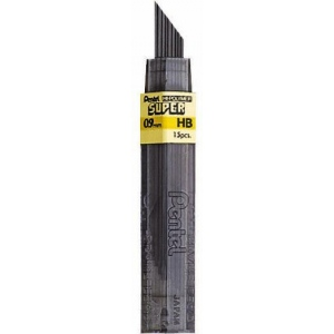Pentel® Super Hi-Polymer® Lead .9mm 2B: 2B, Black/Gray, .9mm, 12-Pack, Lead, (model 50-9-2B), price per tube
