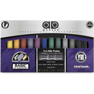 Chartpak® AD™ Marker 12-Color Basic Set: Multi, Xylene-Based, Medium Nib, (model AD12), price per set