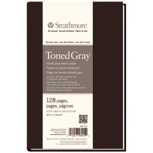 "Strathmore® 400 Series 5 1/2"" x 8 1/2"" Sewn Bound Toned Gray Sketch Art Journal; Color: Black/Gray; Format: Journal; Quantity: 128 Sheets; Size: 5 1/2"" x 8 1/2""; Type: Sketching; (model ST469-105), price per each"