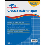 "Alvin® Cross Section Paper 8"" x 8"" Grid 50-Sheet Pad 8-1/2"" x 11""; Format: Pad; Grid Size/Pattern: 8"" x 8""; Quantity: 50 Sheets; Size: 8 1/2"" x 11""; Type: Drawing; Weight: 20 lb; (model 1422-4), price per 50 Sheets pad"