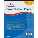 "Alvin® Cross Section Paper 10"" x 10"" Grid 50-Sheet Pad 8-1/2"" x 11""; Format: Pad; Grid Size/Pattern: 10"" x 10""; Quantity: 500 Sheets; Size: 8 1/2"" x 11""; Type: Drawing; Weight: 20 lb; (model 1422-5), price per 500 Sheets pad"