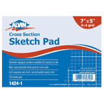 """Alvin® Cross Section Sketch Pad 7"""" x 5""""; Format: Pad; Grid Size/Pattern: 4"""" x 4""""; Quantity: 10 Sheets; Size: 5"""" x 7""""; (model 1424-1), price per 10 Sheets pad"""