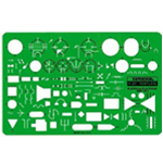 "Rapidesign® Electric/Electronic Symbols Template: 7 3/4"" x 5"" x .030"", Electric/Electronic, (model 301R), price per each"