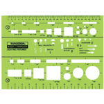 "Rapidesign® Lighting Fixtures Template; Scale: 1/8"" and 1/4"" = 1'; (model 327R), price per each"