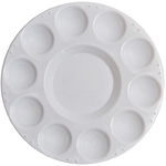 "Richeson 10 Well Round Tray w/ Cover; Color: White/Ivory; Cover: Yes; Material: Plastic; Quantity: 10 Wells; Shape: Round; Size: 7 1/2""; (model 400220), price per each"