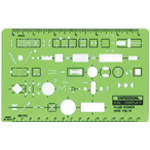 "Rapidesign® Fluid Power Template; Size: 4 1/2"" x 7"" x .030""; Type: Mechanical; (model 46R), price per each"