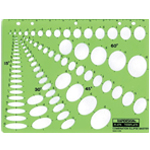 "Rapidesign® Combination Ellipse Master Template; Scale: 1/8"" - 1 1/2"", 1/8"" - 1 3/4"", 1/8"" - 1 5/8"", 3/16"" - 1 5/8""; (model 479R), price per each"