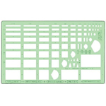 "Timely® Rectangles & Enclosures Templates; Scale: 1/16"" x 1/8"" - 1 1/4"" x 2""; (model 57T), price per each"