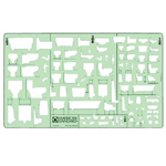"Timely® Plumbing – Elevation View Template: 1/2"", 1/4"" = 1', 1/8"", 3/8"", (model 9383TB), price per each"