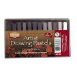 Heritage Arts™ Artist Drawing Pastels Gray Tones 12-Color Set; Color: Black/Gray, White/Ivory; Format: Stick; Type: Drawing; (model ADP12GP), price per set