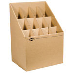 "Alvin® Upright Roll File 12 Slots: 12 Slots, Brown, Fiberboard, 12""d x 15""w x 12"" - 22""h, (model ARF12), price per each"