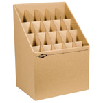 "Alvin® Upright Roll File 20 Slots; Capacity: 20 Slots; Color: Brown; Material: Fiberboard; Size: 12""d x 15""w x 12"" - 22""h; (model ARF20), price per each"