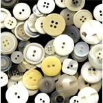 "Buttons Galore & More Button Bonanza Grab Bag Ivory; Color: White/Ivory; Material: Plastic; Shape: Round; Size: 3/8"" - 1""; (model BB18), price per each"