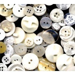 "Buttons Galore & More Button Bonanza Grab Bag White; Color: White/Ivory; Material: Plastic; Shape: Round; Size: 3/8"" - 1""; (model BB20), price per each"