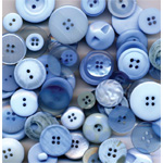 "Buttons Galore & More Button Bonanza Grab Bag Ocean Blue; Color: Blue; Material: Plastic; Shape: Round; Size: 3/8"" - 1""; (model BB22), price per each"