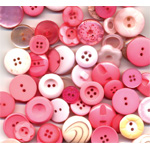 "Buttons Galore & More Button Bonanza Grab Bag Bubblegum; Color: Red/Pink; Material: Plastic; Shape: Round; Size: 3/8"" - 1""; (model BB41), price per each"