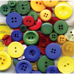"Buttons Galore & More Button Bonanza Grab Bag Primary; Color: Multi; Material: Plastic; Shape: Round; Size: 3/8"" - 1""; (model BB43), price per each"