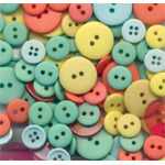 "Buttons Galore & More Button Bonanza Grab Bag Summertime; Color: Multi; Material: Plastic; Shape: Round; Size: 3/8"" - 1""; (model BB46), price per each"