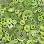 "Buttons Galore & More Button Bonanza Grab Bag Spring Green; Color: Green; Material: Plastic; Shape: Round; Size: 3/8"" - 1""; (model BB56), price per each"