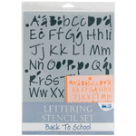 Blue Hills Studio Lettering Stencil Set: Back to School, 4 Pieces